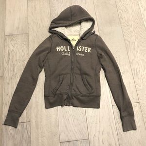 Grey Hollister faux fur lined hoodie XS